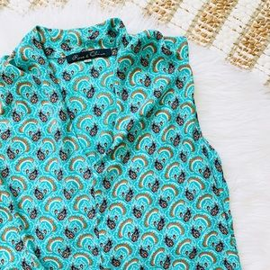 Rose & Olive turquoise pattern top